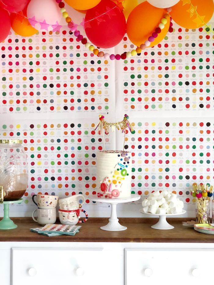 Rainbow Party Table from a Rainbow Christmas Birthday Party on Kara's Party Ideas | KarasPartyIdeas.com (37)