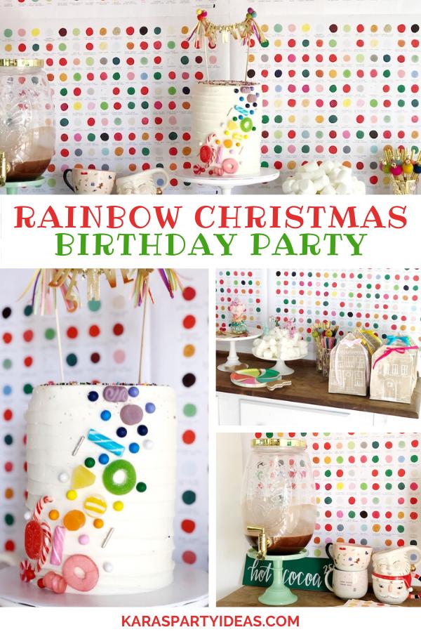 Rainbow Christmas Birthday Party via Kara's Party Ideas - KarasPartyIdeas.com