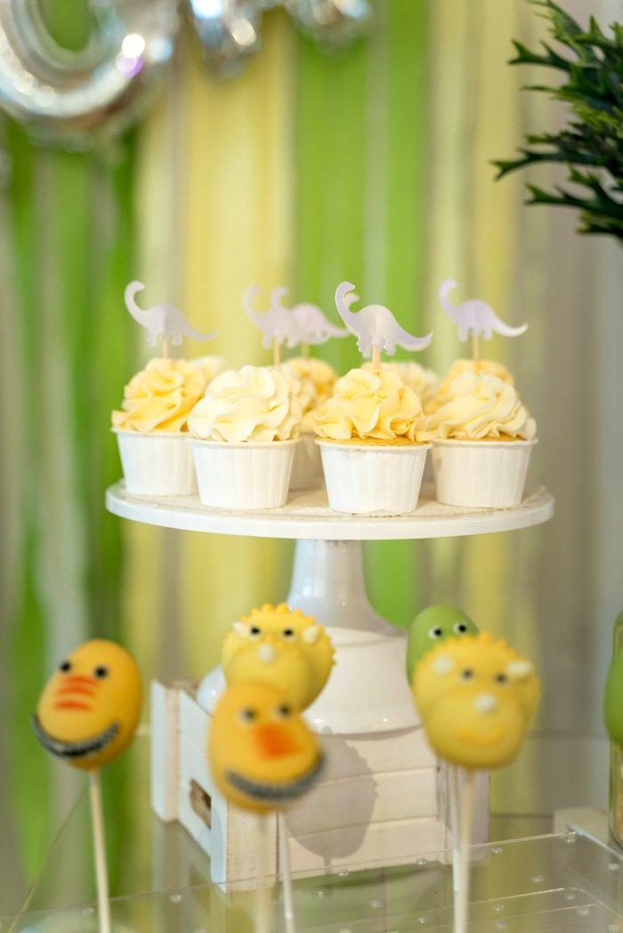 Dinosaur Cupcakes from a Roar Dinosaur Birthday Party on Kara's Party Ideas | KarasPartyIdeas.com (12)