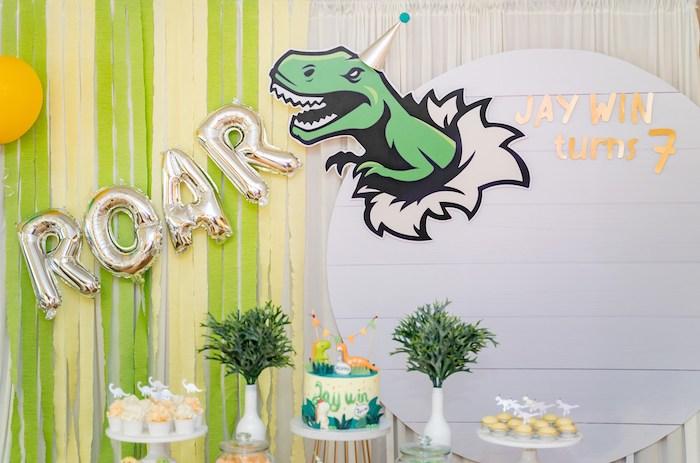 ROAR Dessert Table Backdrop from a Roar Dinosaur Birthday Party on Kara's Party Ideas | KarasPartyIdeas.com (11)