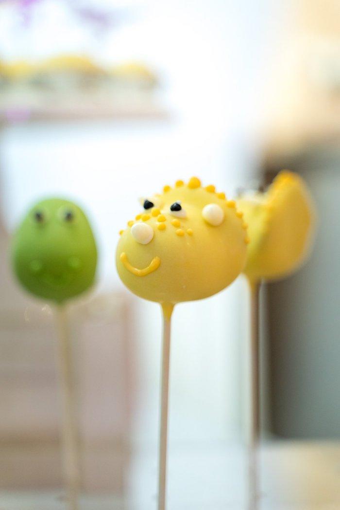 Yellow Dino Cake Pop from a Roar Dinosaur Birthday Party on Kara's Party Ideas | KarasPartyIdeas.com (9)