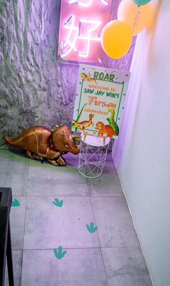Dinosaur Track Party Entrance from a Roar Dinosaur Birthday Party on Kara's Party Ideas | KarasPartyIdeas.com (20)