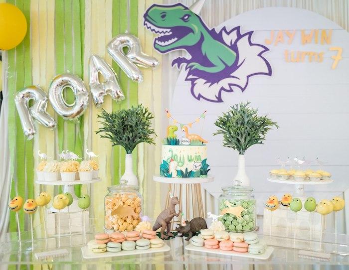 Dinosaur Themed Dessert Table from a Roar Dinosaur Birthday Party on Kara's Party Ideas | KarasPartyIdeas.com (19)