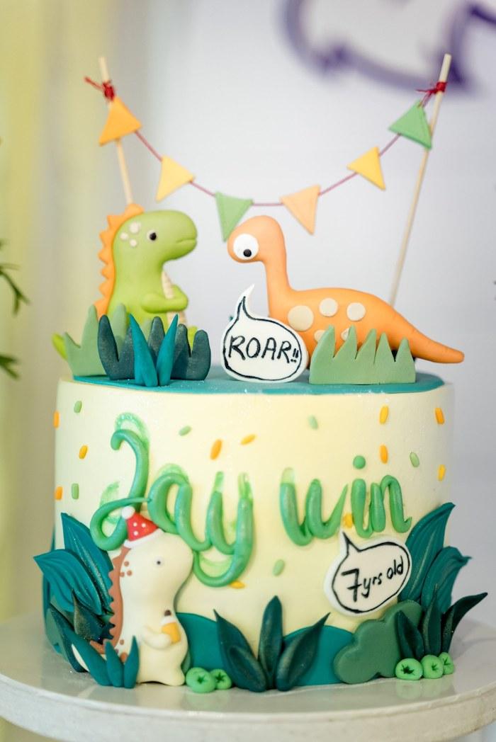 Dinosaur Cake from a Roar Dinosaur Birthday Party on Kara's Party Ideas | KarasPartyIdeas.com (16)