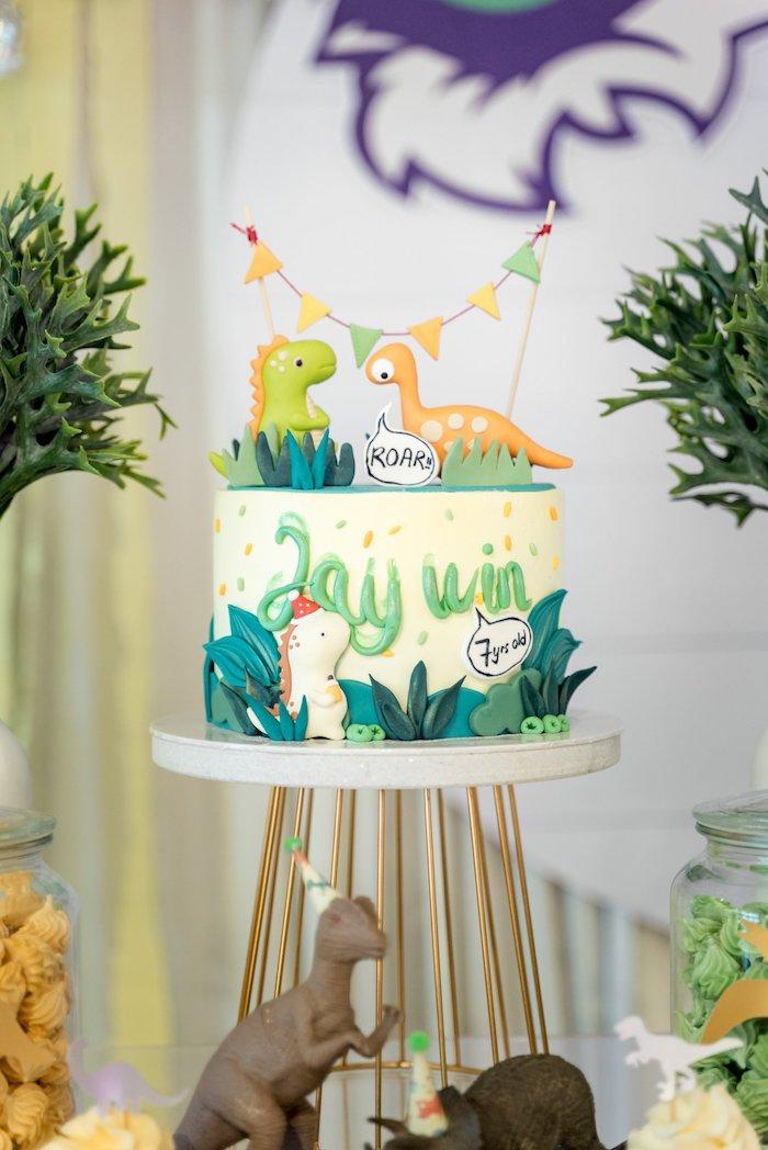 Dinosaur Cake from a Roar Dinosaur Birthday Party on Kara's Party Ideas | KarasPartyIdeas.com (15)
