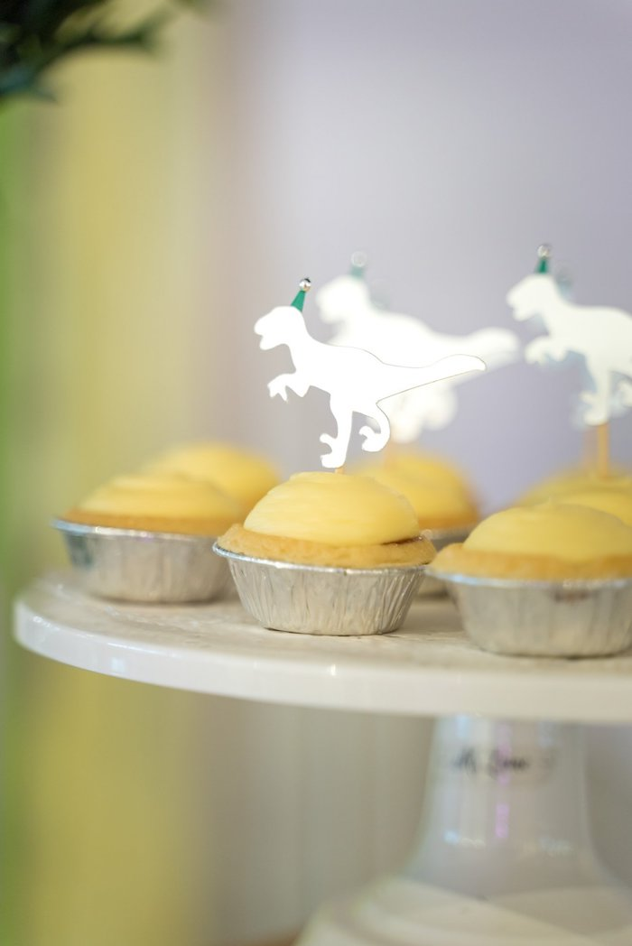 Dessert Tarts with T-Rex Toppers from a Roar Dinosaur Birthday Party on Kara's Party Ideas | KarasPartyIdeas.com (14)