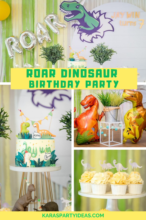 Roar Dinosaur Birthday Party via Kara's Party Ideas - KarasPartyIdeas.com