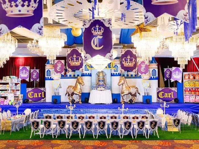Royal Castle Dessert Spread + Stage from a Royal Prince Birthday Party on Kara's Party Ideas | KarasPartyIdeas.com (13)