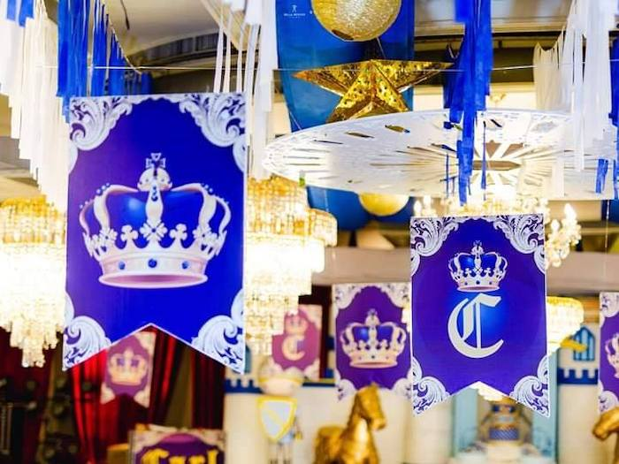 Royal Crest Ceiling Banners from a Royal Prince Birthday Party on Kara's Party Ideas | KarasPartyIdeas.com (11)