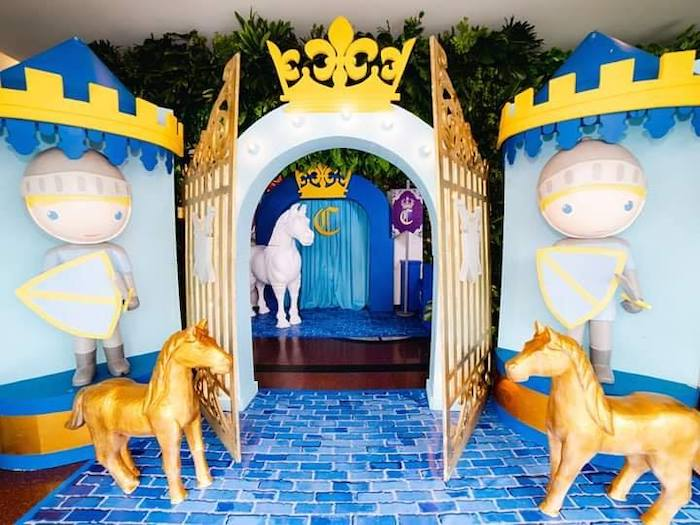 Guarded Palace Party Entrance from a Royal Prince Birthday Party on Kara's Party Ideas   KarasPartyIdeas.com (10)