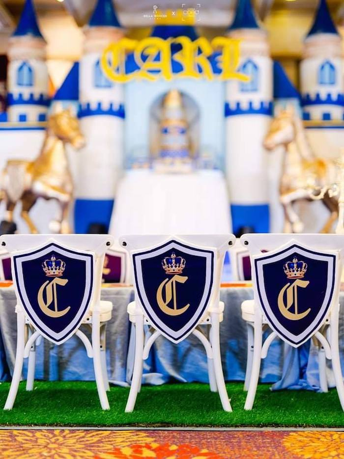 Royal Crested Chairs from a Royal Prince Birthday Party on Kara's Party Ideas | KarasPartyIdeas.com (9)