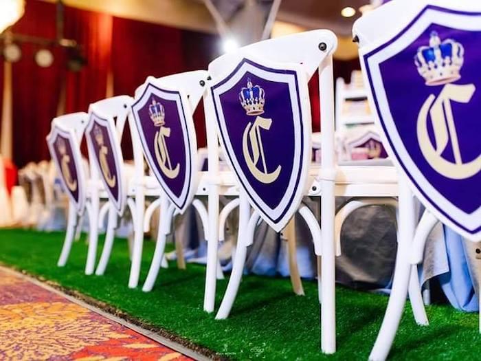 Royal Crest Chair Backs from a Royal Prince Birthday Party on Kara's Party Ideas | KarasPartyIdeas.com (3)