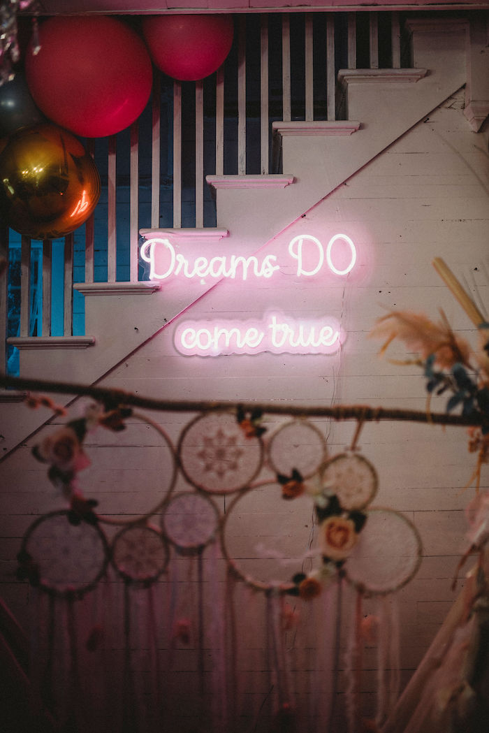 Neon Dream Sign from a Rustic Boho Sweet 16 Sleepover Party on Kara's Party Ideas | KarasPartyIdeas.com (16)