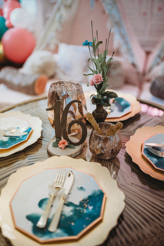Boho Themed Table Centerpieces from a Rustic Boho Sweet 16 Sleepover Party on Kara's Party Ideas | KarasPartyIdeas.com (15)