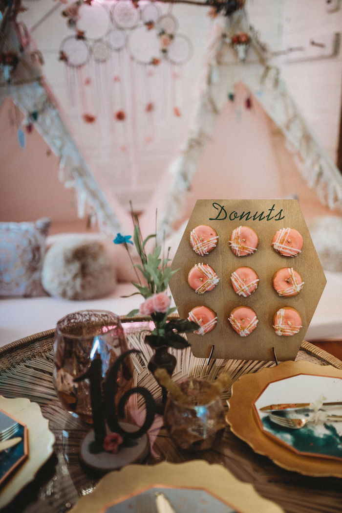 Hexagon Donut Board from a Rustic Boho Sweet 16 Sleepover Party on Kara's Party Ideas | KarasPartyIdeas.com (14)