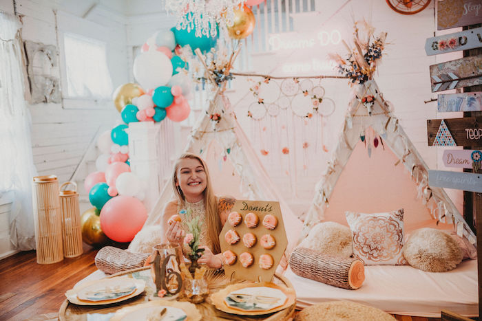 Rustic Boho Sweet 16 Sleepover Party on Kara's Party Ideas | KarasPartyIdeas.com (13)