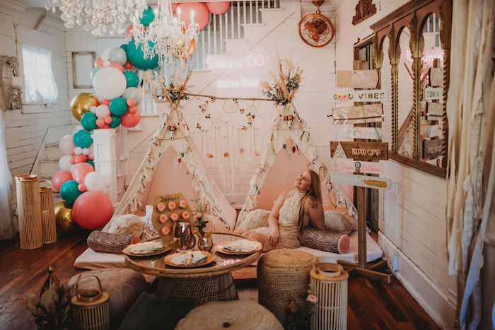 Rustic Boho Sweet 16 Sleepover Party on Kara's Party Ideas | KarasPartyIdeas.com (11)