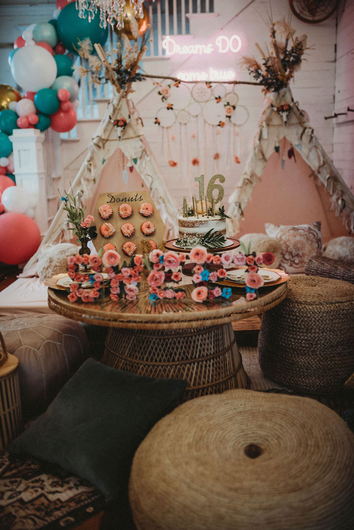 Boho Party Table from a Rustic Boho Sweet 16 Sleepover Party on Kara's Party Ideas | KarasPartyIdeas.com (7)