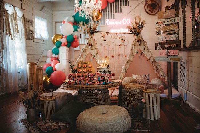Rustic Boho Sweet 16 Sleepover Party on Kara's Party Ideas | KarasPartyIdeas.com (5)