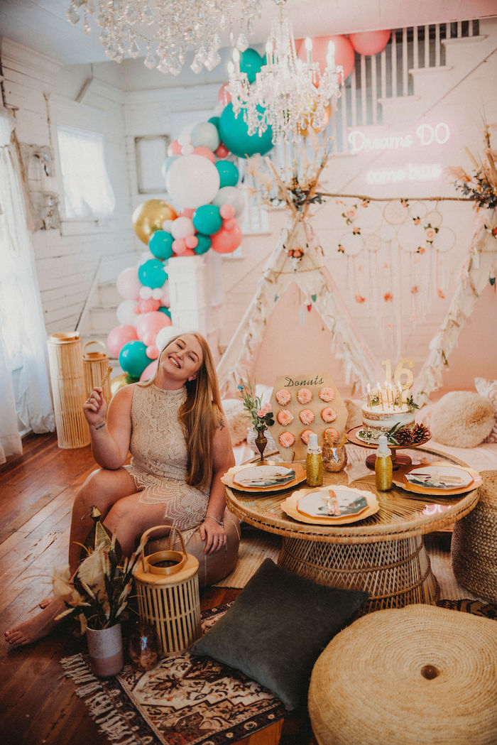 Rustic Boho Sweet 16 Sleepover Party on Kara's Party Ideas | KarasPartyIdeas.com (4)