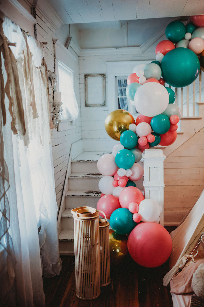 Staircase Balloon Garland from a Rustic Boho Sweet 16 Sleepover Party on Kara's Party Ideas | KarasPartyIdeas.com (24)