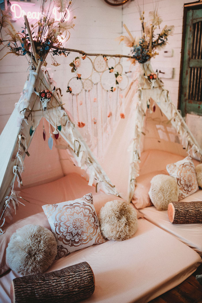 Boho Themed Teepees from a Rustic Boho Sweet 16 Sleepover Party on Kara's Party Ideas | KarasPartyIdeas.com (23)