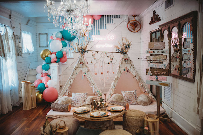 Boho Party Spread from a Rustic Boho Sweet 16 Sleepover Party on Kara's Party Ideas | KarasPartyIdeas.com (20)