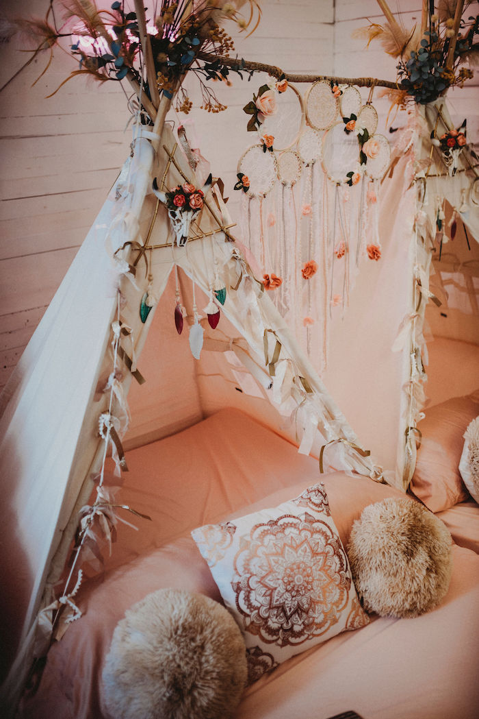 Boho Teepee from a Rustic Boho Sweet 16 Sleepover Party on Kara's Party Ideas | KarasPartyIdeas.com (18)