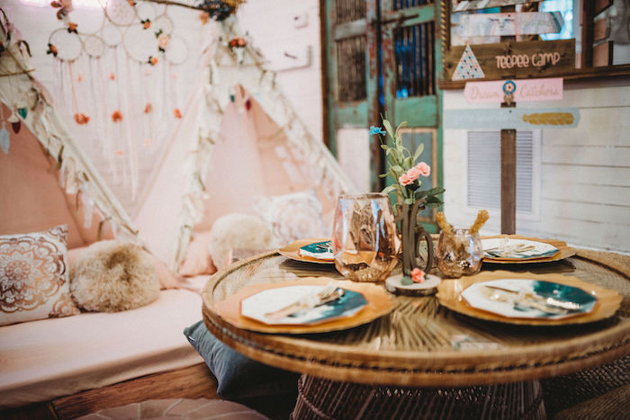 Boho Party + Guest Table from a Rustic Boho Sweet 16 Sleepover Party on Kara's Party Ideas | KarasPartyIdeas.com (17)