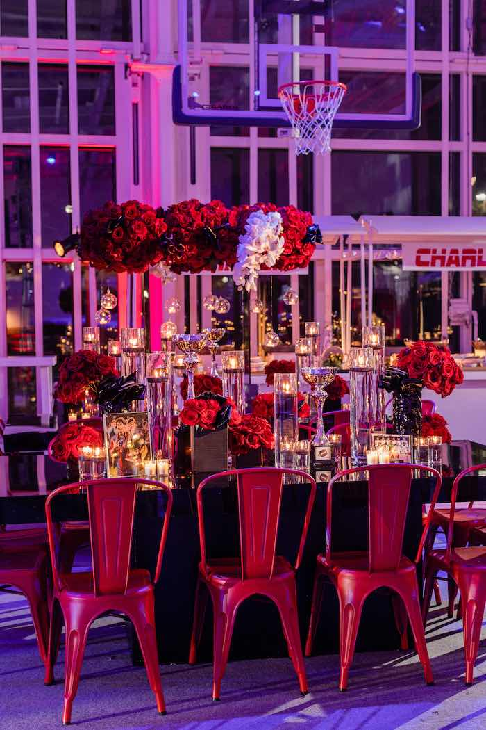 Black and Red Guest Table from a Sports Themed Bar Mitzvah on Kara's Party Ideas | KarasPartyIdeas.com (14)