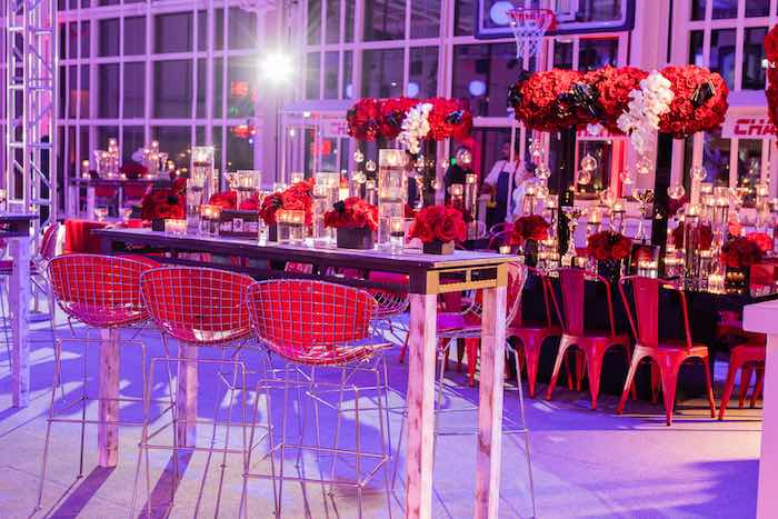 Black and White Table with Tall Red Stools from a Sports Themed Bar Mitzvah on Kara's Party Ideas | KarasPartyIdeas.com (13)