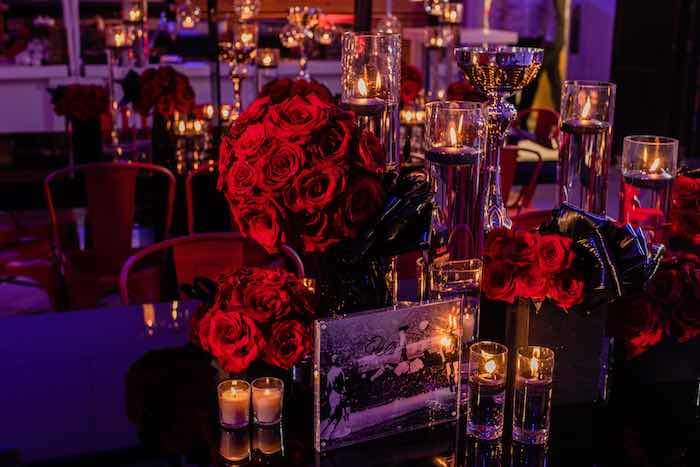 Candle, rose and trophy centerpieces from a Sports Themed Bar Mitzvah on Kara's Party Ideas | KarasPartyIdeas.com (11)