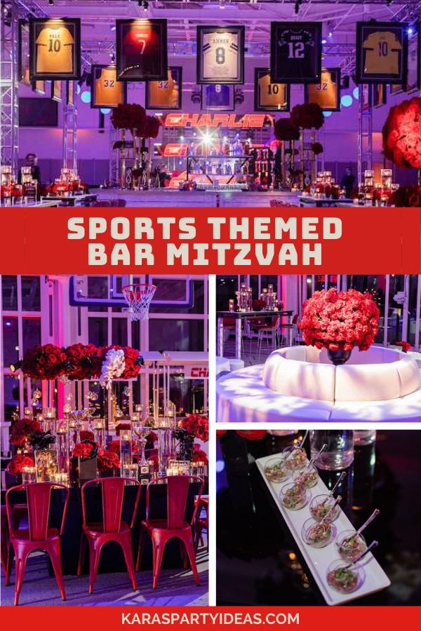 Sports Themed Bar Mitzvah via Kara's Party Ideas - KarasPartyIdeas.com