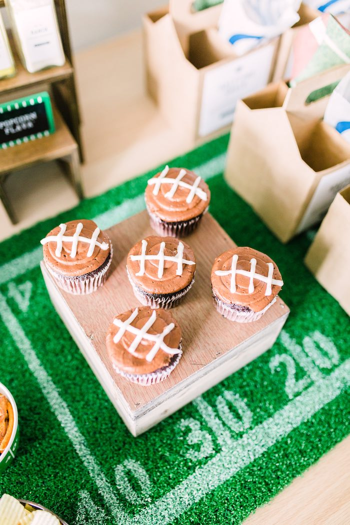 Football-iced Cupcakes from a Super Bowl Football Party on Kara's Party Ideas | KarasPartyIdeas.com (18)