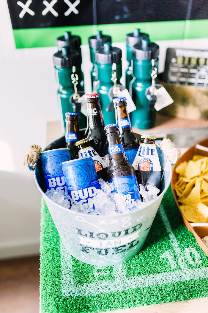 Beverage Bucket from a Super Bowl Football Party on Kara's Party Ideas | KarasPartyIdeas.com (14)