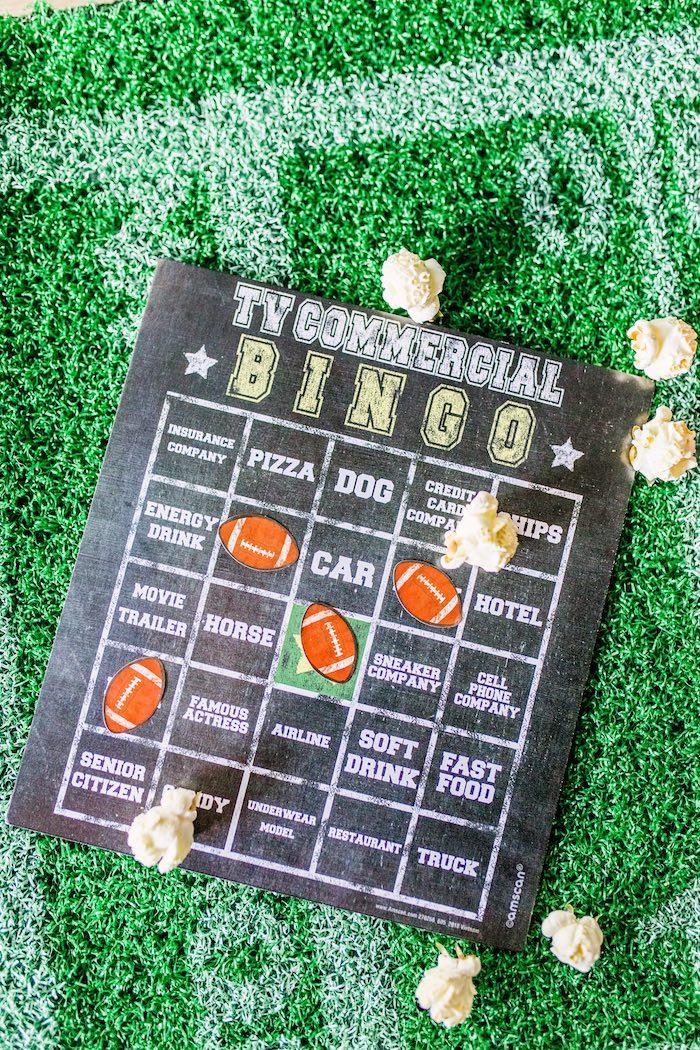Chalkboard Commercial Bingo Board from a Super Bowl Football Party on Kara's Party Ideas | KarasPartyIdeas.com (9)