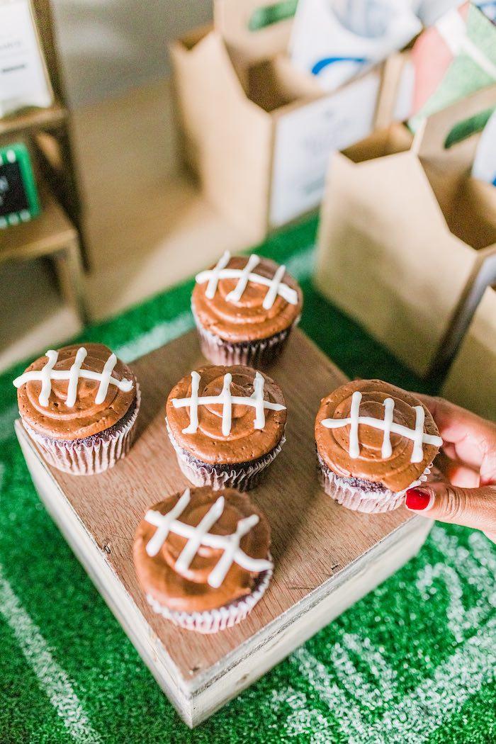 Football-iced Cupcakes from a Super Bowl Football Party on Kara's Party Ideas | KarasPartyIdeas.com (7)