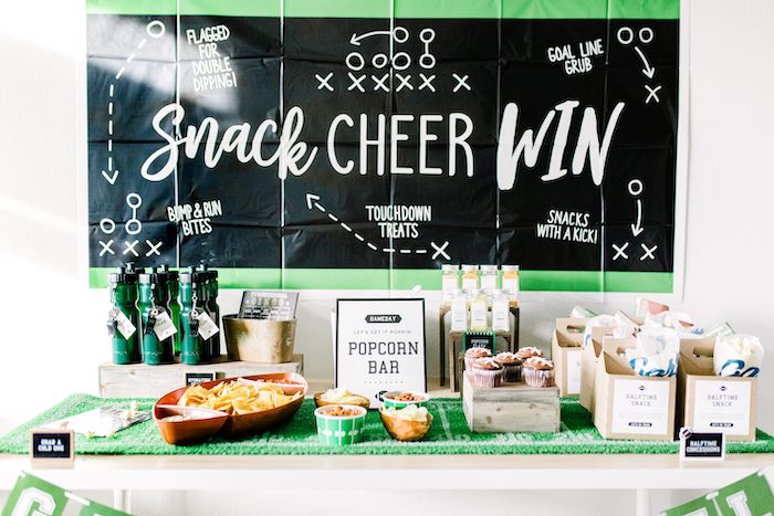 Super Bowl Party Table from a Super Bowl Football Party on Kara's Party Ideas | KarasPartyIdeas.com (6)