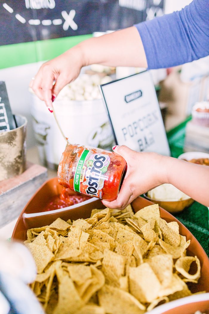 Football Chips and Salsa Tray from a Super Bowl Football Party on Kara's Party Ideas | KarasPartyIdeas.com (23)