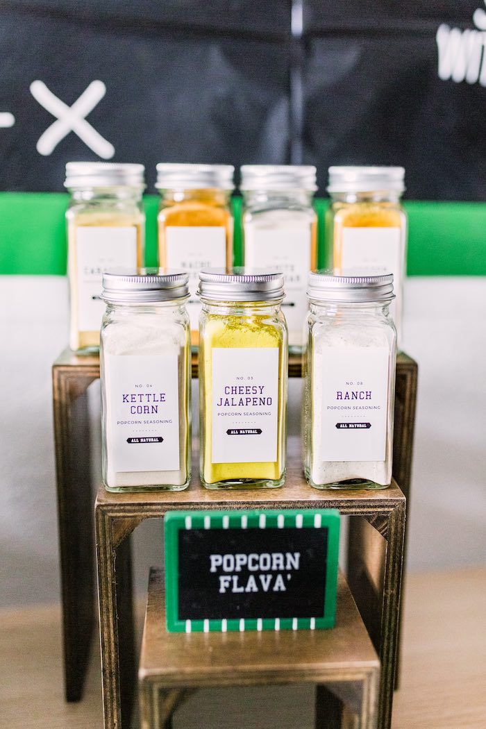 Popcorn Flavors for a Popcorn Favor Bar from a Super Bowl Football Party on Kara's Party Ideas | KarasPartyIdeas.com (20)