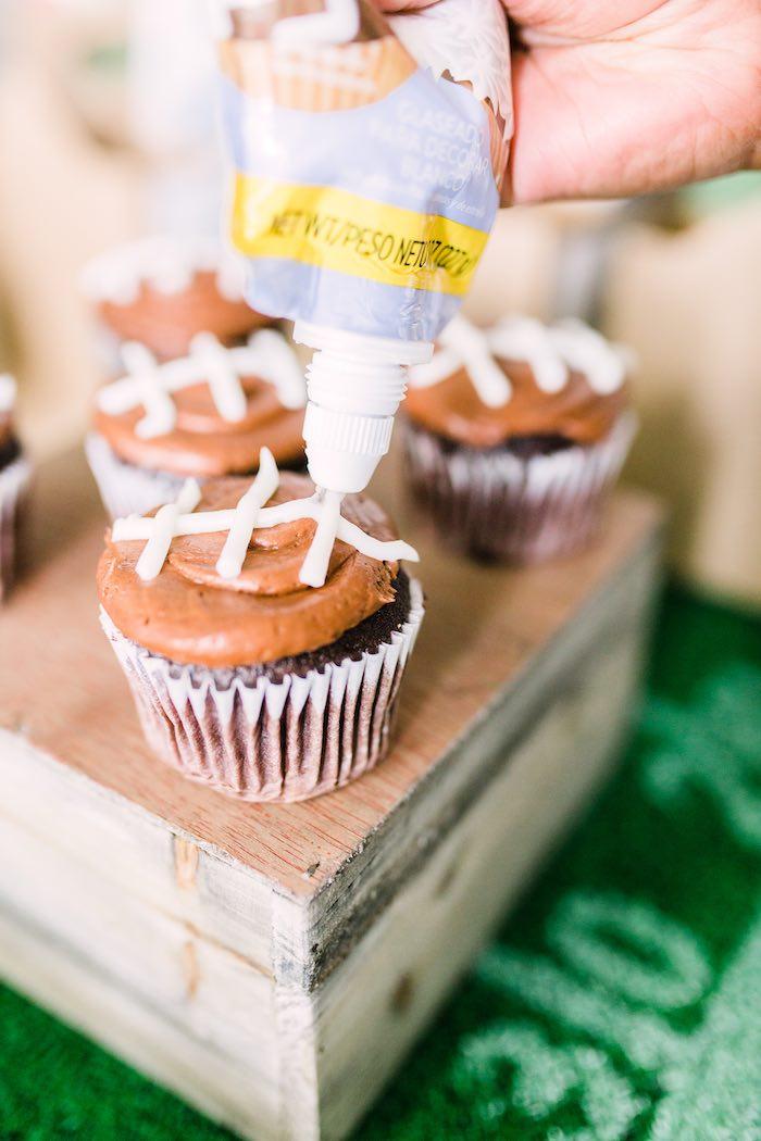 Football-iced Cupcakes from a Super Bowl Football Party on Kara's Party Ideas | KarasPartyIdeas.com (19)