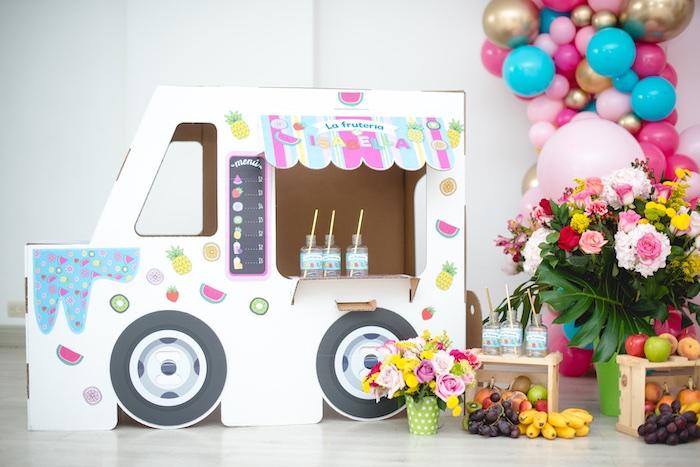 Cardboard Food Truck from a Tutti Frutti Food Truck Birthday Party on Kara's Party Ideas | KarasPartyIdeas.com (14)