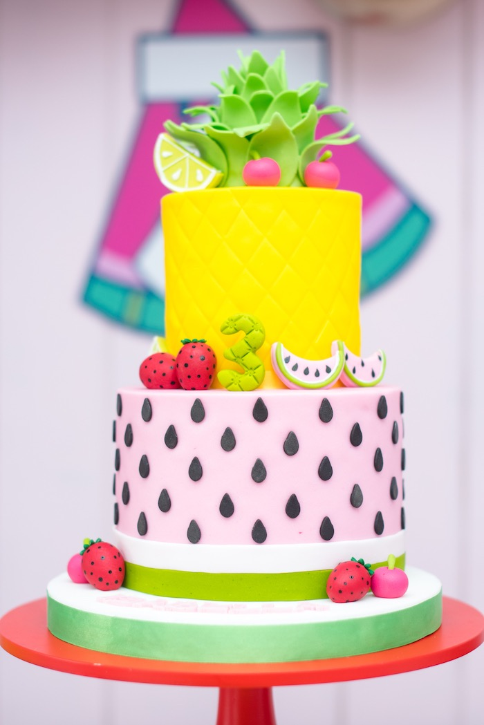 Fruit-inspired Birthday Cake from a Tutti Frutti Food Truck Birthday Party on Kara's Party Ideas | KarasPartyIdeas.com (22)