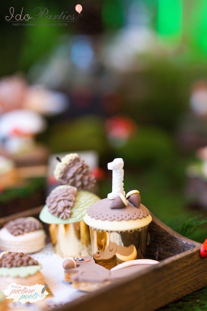 "Woodland Acorn ""1"" Cupcake from a Woodland Animal Birthday Party on Kara's Party Ideas   KarasPartyIdeas.com (20)"