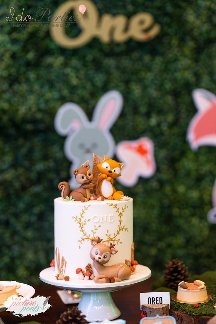 Woodland Themed Birthday Cake from a Woodland Animal Birthday Party on Kara's Party Ideas | KarasPartyIdeas.com (19)