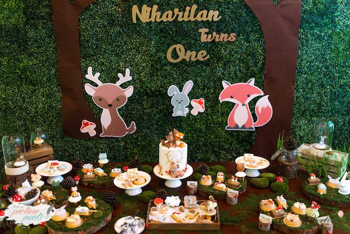 Woodland Themed Dessert Table from a Woodland Animal Birthday Party on Kara's Party Ideas | KarasPartyIdeas.com (18)
