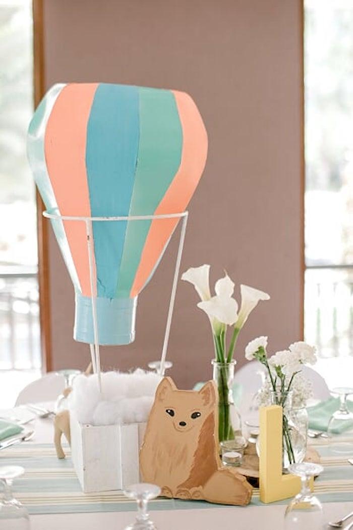 Hot Air Balloon Fox Centerpiece from a Woodland Travel Birthday Party on Kara's Party Ideas | KarasPartyIdeas.com (27)
