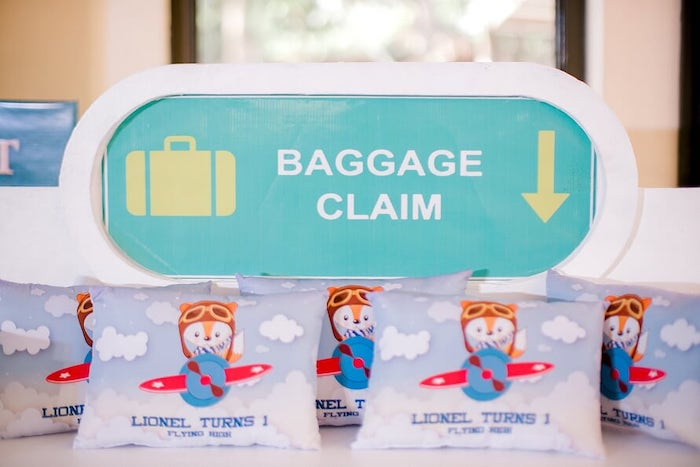 Baggage Claim Favor Shelf + Pillows from a Woodland Travel Birthday Party on Kara's Party Ideas | KarasPartyIdeas.com (19)