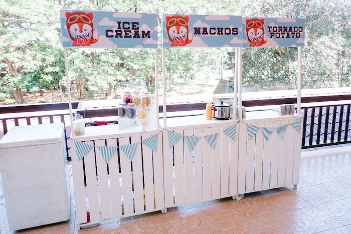 Food Stands from a Woodland Travel Birthday Party on Kara's Party Ideas | KarasPartyIdeas.com (18)