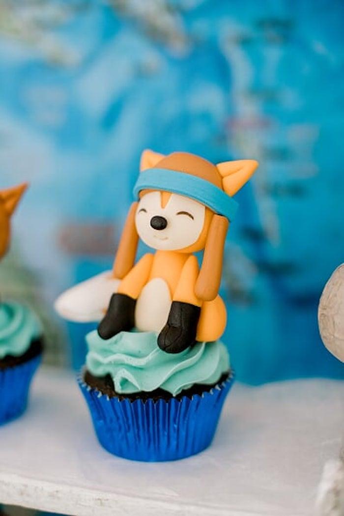 Aviator Fox Cupcake from a Woodland Travel Birthday Party on Kara's Party Ideas | KarasPartyIdeas.com (14)